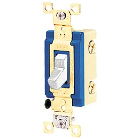 Bryant 4801BW Industrial Grade Toggle Switch, Single Pole, 15A, 120/277V AC, White