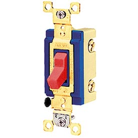 Bryant 4803BRED Industrial Grade Toggle Switch, Three Way, 15A, 120/277V AC, Red