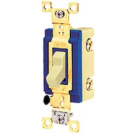 Bryant 4803GLI Toggle Switch, Three Way, 15A, 120/277V AC, Glow Handle, Ivory
