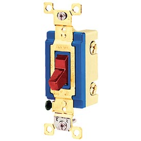 Bryant 4803RED Industrial Grade Toggle Switch, Three Way, 15A, 120/277V AC, Red