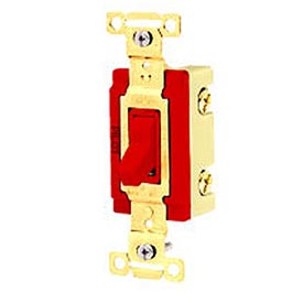 Bryant 4902PLR277 Industrial Grade Toggle Switch, Double Pole, 20A, 277V AC, Pilot Red