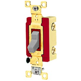 Bryant 4903GRY Industrial Grade Toggle Switch, Three Way, 20A, 120/277V AC, Gray