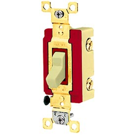 Bryant 4903I Industrial Grade Toggle Switch, Three Way, 20A, 120/277V AC, Ivory