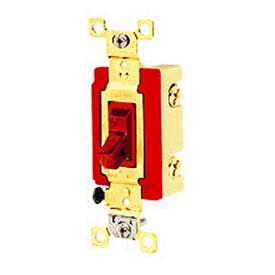 Bryant 4904RED Industrial Grade Toggle Switch, Four Way, 20A, 120/277V AC, Red