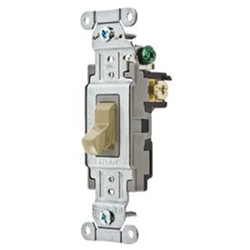Bryant CS315BAL Commercial Grade Toggle Switch, Three Way, 15A, 120/277V AC, Almond
