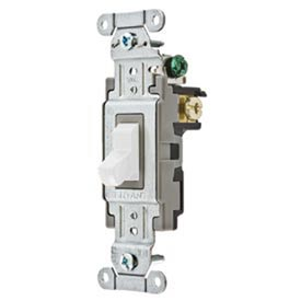 Bryant CSB120BW Commercial Grade Toggle Switch, Single Pole, 20A, 120/277V AC, White