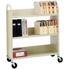 Bretford L330 Single-Sided Steel Book Storage Cart, 3 Slant Shelves, Putty