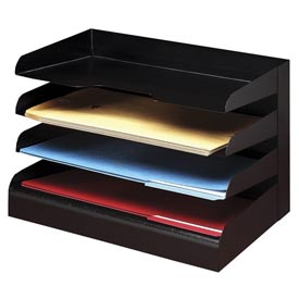 Classic™ 4 Tier Legal Size Horizontal Desk Tray - Black