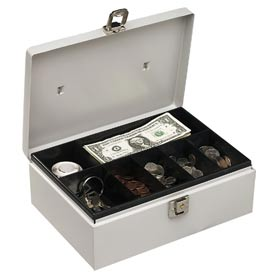 "Buddy Products  Metal Cash Box 0513-32 With Handle 7 Compartments 11""W x 7-3/4""D x 4""H, Platinum - Pkg Qty 6"