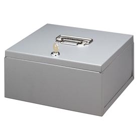 "Buddy Products Heavy Duty Steel Security Lock Box 0526-1 No Tray,  10""W x 8-1/2""D x 4-5/8""H, Gray"