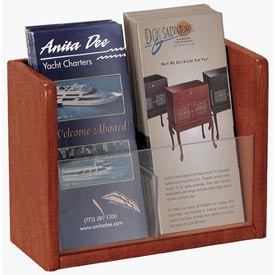 Single Pocket Literature Brochure Holder - Medium Cherry