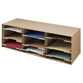 12 Compartment Adjustable Shelf Sorting Rack - Tan