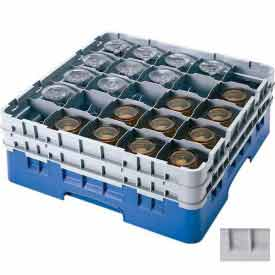 """Cambro 25S738151 - Camrack  Glass Rack Low Profile 25 Compartments 7-3/4"""" Max. Ht. Gray NSF - Pkg Qty 3"""
