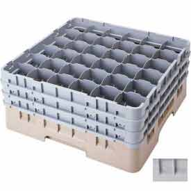 """Cambro 36S738151 - Camrack  Glass Rack Low Profile 36 Compartments 7-3/4"""" Max. Ht. Gray NSF - Pkg Qty 3"""