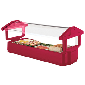 "Cambro 4FBRTT158 - Tabletop Salad Bar, 51""L x 27""H, Table Top, 4-Pan Size, Breathguard, Hot Red"
