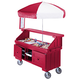 "Cambro CVC724158 - Camcruiser Vending Cart, 4 full size pans, 6"" deep, Hot Red"
