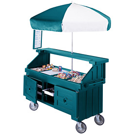 "Cambro CVC724192 - Camcruiser Vending Cart, 4 full size pans, 6"" deep, Granite Green"