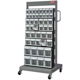 Shuter Flip Out Bin, Two-Sided Mobile Cart, 92 Compartments Capacity