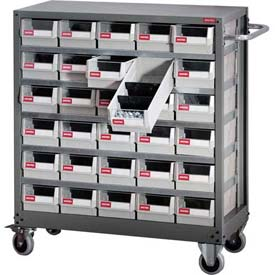 "Shuter Parts Drawer Cart, 30 Drawers, 49 ""L x 15-3/4""W x 34-5/8""H"