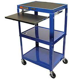 "Luxor H. Wilson Duraweld Adjustable-Height Audio-Visual Carts - 24X18"" Shelves - Keyboard Shelf"