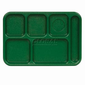 "Cambro 10146CW119 - School Tray 10"" x 14"" 6 Compartment, Sherwood Green - Pkg Qty 24"