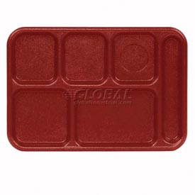 "Cambro 10146CW416 - School Tray 10"" x 14"" 6 Compartment, Cranberry - Pkg Qty 24"