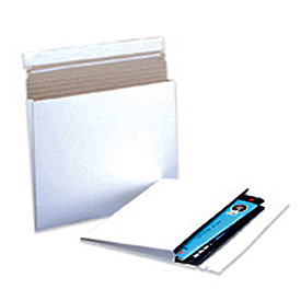 "Gusseted Self-Seal Stayflat Mailer, 9-1/2""W x 12-1/2""L, 1"" D, White, 100 Pack"