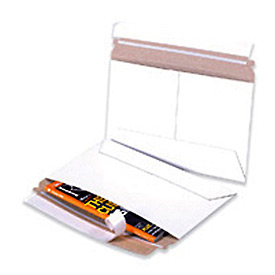 "Side Loading Stayflat Mailer, 9""W x 6""L, White, 200 Pack"