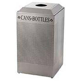 Rubbermaid® Silhouette DCR24C Recycling Receptacle w/Can & Bottle Opening, 29 Gallon - Silver