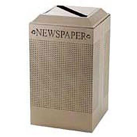Rubbermaid® Silhouette DCR24P Recycling Receptacle w/Newspaper Opening, 29 Gal - Desert Pearl