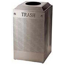 Rubbermaid® Silhouette DCR24T Recycling Receptacle w/Trash Opening, 29 Gallon - Stainless Steel