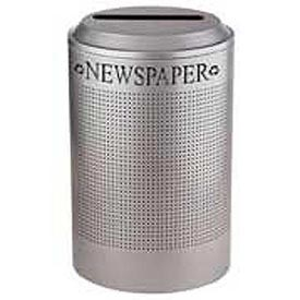 Rubbermaid® Silhouette DRR24P Recycling Container w/Newspaper Opening, 26 Gal - Silver Metallic