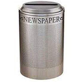 Rubbermaid® Silhouette DRR24P Recycling Receptacle w/Newspaper Opening, 26 Gallon - Stainless