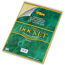 Docket® Wirebound Letter Size Legal Rule Pad with Cover, White, 70 Sheets/Pad