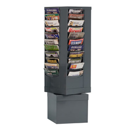 44 Pocket Rotary Literature Rack - Gray