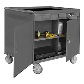 "Durham 662-95 34""W x 24""D Two Sided Cart - 12 Compartments, 12 Drawers, 1 Cabinet"