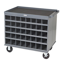 "Durham 664-95 34""W x 24""D Two Sided Cart - 80 Compartments, Gray"