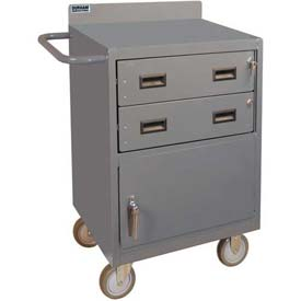 "Durham 2201-95 24""W x 18""D Mobile Bench Cabinet - 2 Drawers, 1 Compartment, Gray"