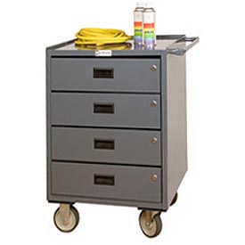 "Durham 2202-95 23""W x 20""D Mobile Bench Cabinet - 4 Drawers, Gray"