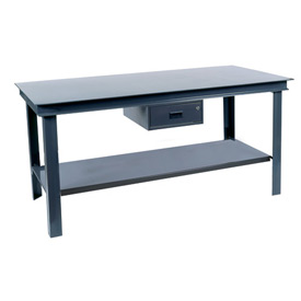 "Durham HWB-3660-95 60""W x 36""D Fixed Legs Workbench - Steel Square Edge. Gray"