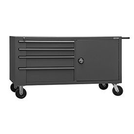 "Durham MBC-3060-95 60""W x 30""D Mobile Bench Cabinet - 1 Shelf, 8 Drawers, Gray"