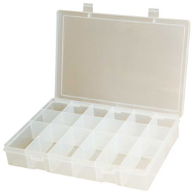 Durham Small Plastic Compartment Box SP18-CLEAR - 18 Compartments, 6-3/4x6-3/4x1-3/4 - Pkg Qty 10