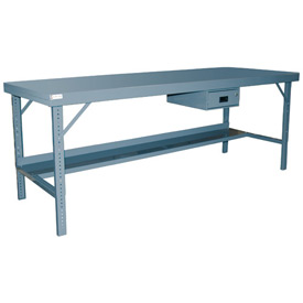 "Durham WBF-3096-95 96""W x 30""D Folding Leg Workbench - Steel Square Edge, Gray"