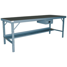 "Durham WBF-TH-3072-95 72""W x 30""D Folding Leg Workbench - Square Edge Shop Top, Gray"
