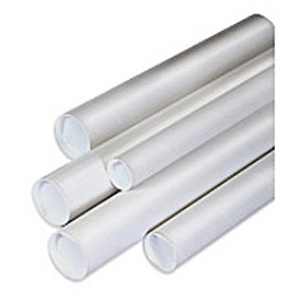 "Mailing Tube With Cap, 6""L x 1-1/2"" Diameter x 0.06 Wall Thickness, White, 50 Pack"