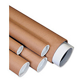 "Mailing Tube With Cap, 15""L x 1-1/2"" Diameter x 0.06 Wall Thickness, Kraft, 50 Pack"