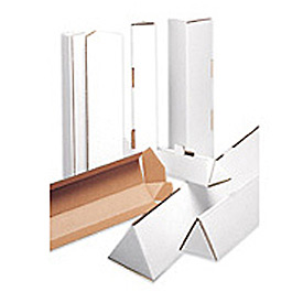 "Triangle Corrugated Mailing Tube 2"" x 18-1/4"" 200lb. ECT-32-B Test - White - 50 Pack"