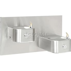 Elkay Soft Sides ADA Water Fountain, Stainless Steel, Cane Apron, 2 Station, Wall Hung, EDFP217C