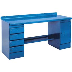 Closed Pedestal Bench - 6', Blue