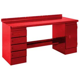 Closed Pedestal Bench - 6', Red